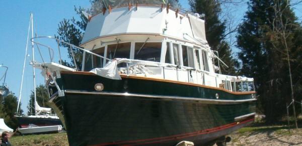 Newly painted Grand Banks hull
