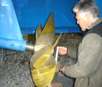 Propeller being reconditioned.