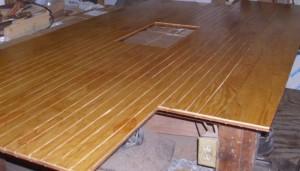 Back side of teak sole sealed