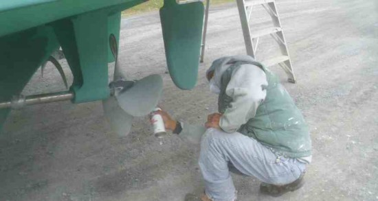 Curious Carlos sprays a prop