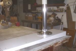 Pedestal mounted to new seat base