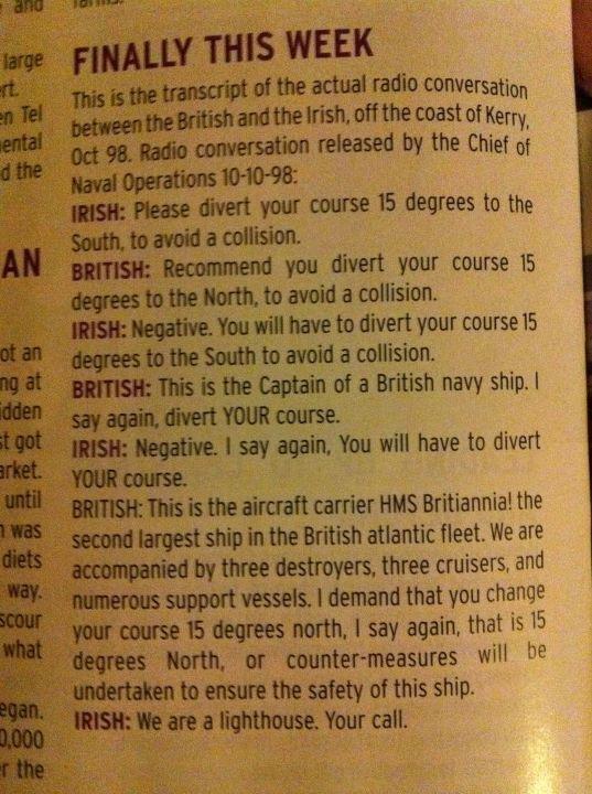Irish unit n Path  of British Fleet