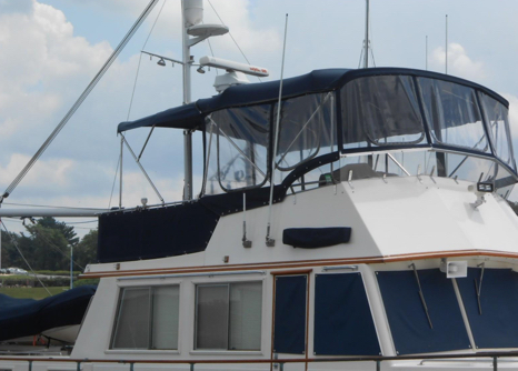 Boat Canvas and Eisenglass Care for Your Grand Banks Flybridge Enclosure